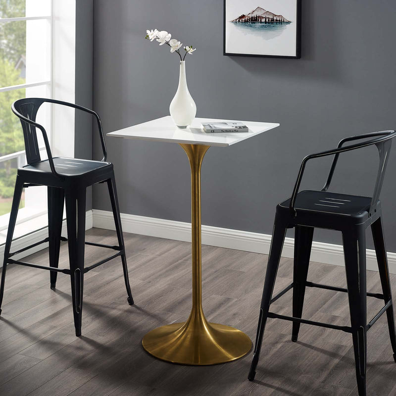 "Modway Lippa 28"" Square Bar Table Gold White"