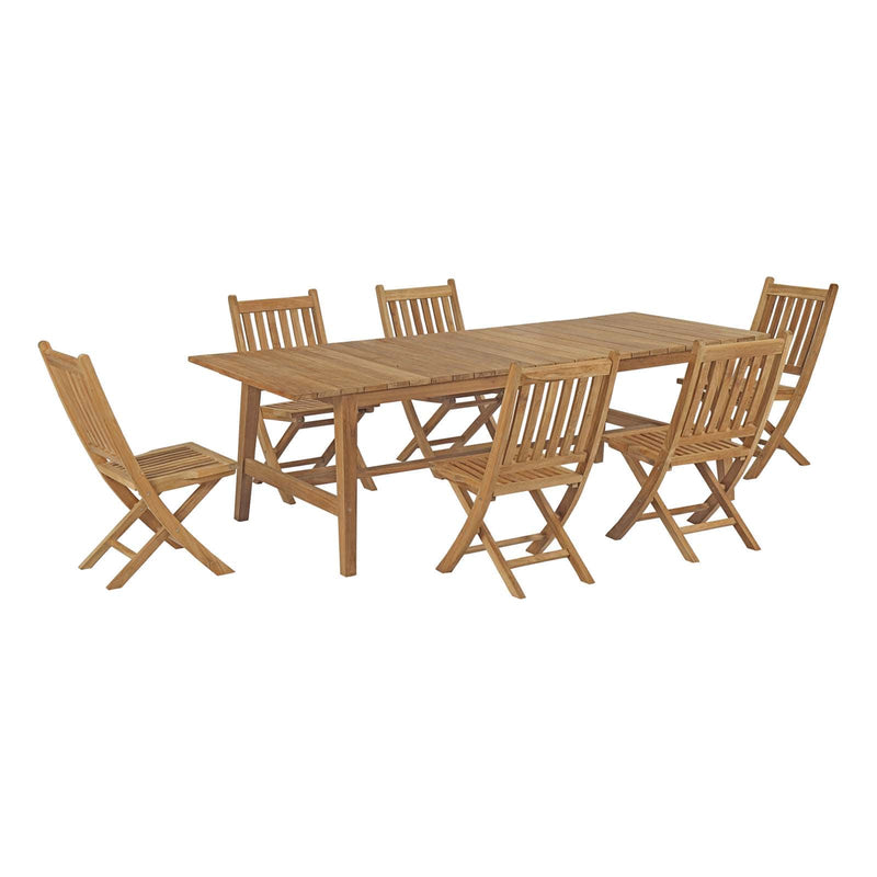 Modway Marina 7 Piece Outdoor Patio Teak Outdoor Dining Set-EEI-3309