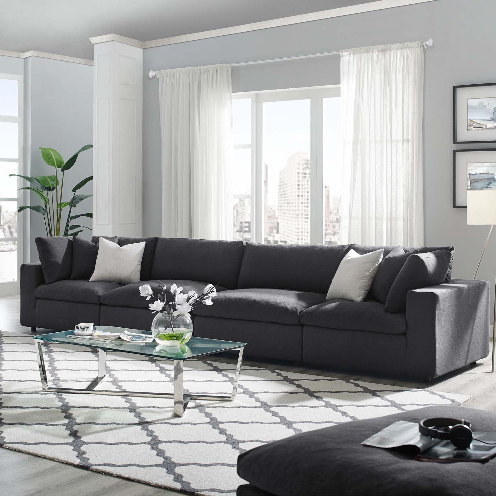 Modway Commix Down Filled Overstuffed 4 Piece Sectional Sofa Set