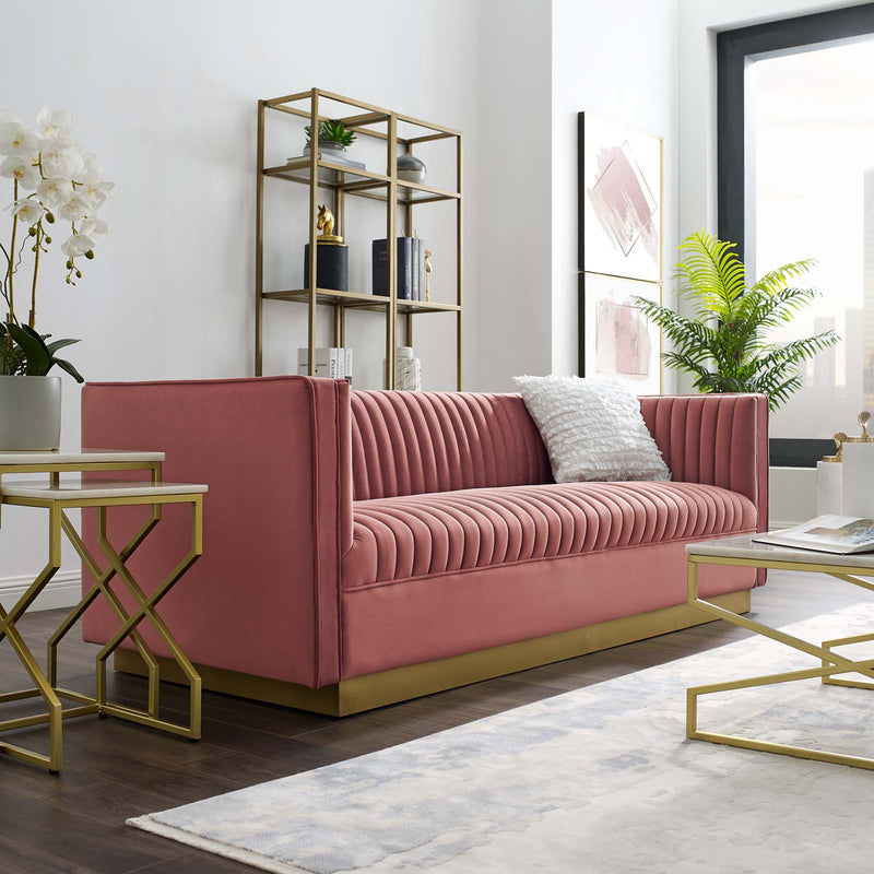 Modway Sanguine Vertical Channel Tufted Performance Velvet Sofa