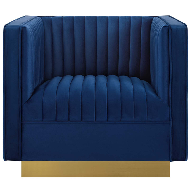 Modway Sanguine Vertical Channel Tufted Accent Performance Velvet Armchair