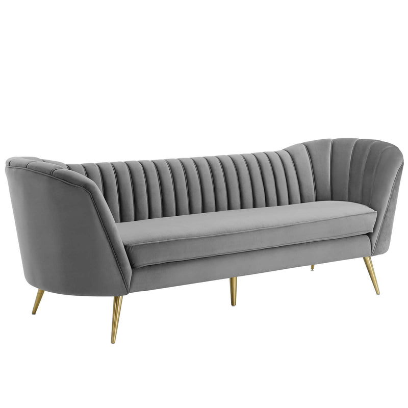Modway Opportunity Vertical Channel Tufted Curved Performance Velvet Sofa