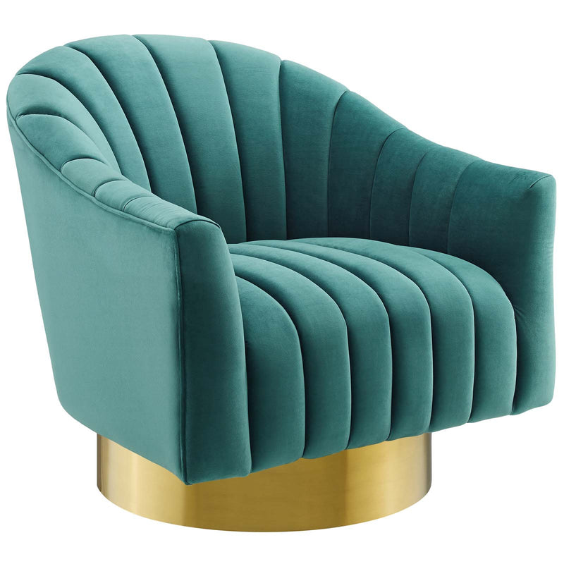 Modway Buoyant Vertical Channel Tufted Accent Lounge Performance Velvet Swivel Chair