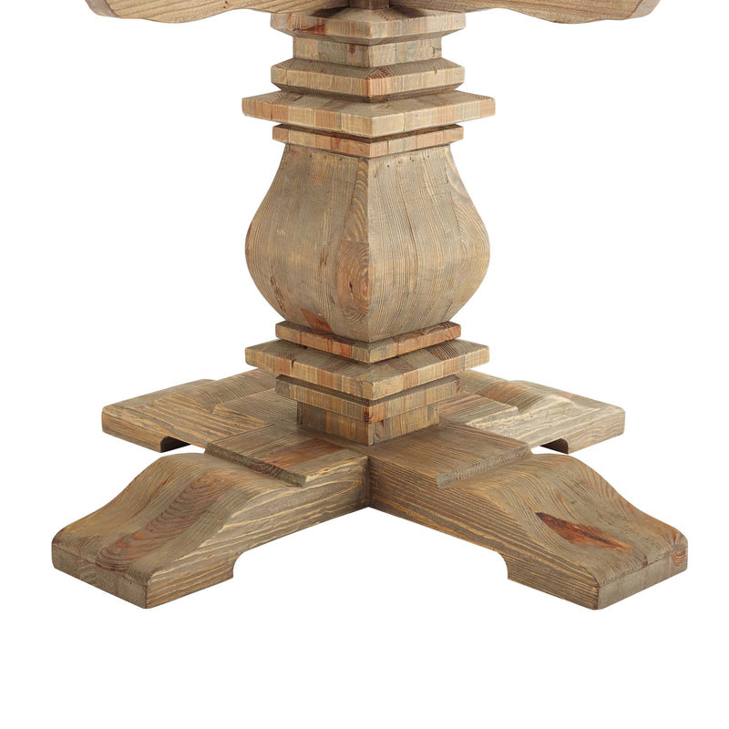 "Modway Column 59"" Round Pine Wood Dining Table"
