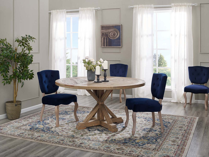 "Modway Stitch 59"" Round Pine Wood Dining Table"