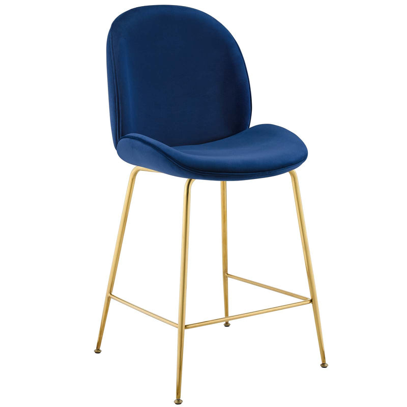 Modway Scoop Gold Stainless Steel Leg Performance Velvet Counter Stool