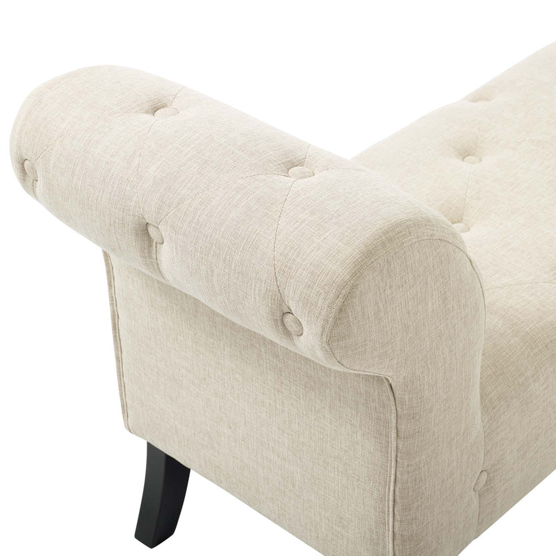 Modway Evince Button Tufted Accent Upholstered Fabric Bench