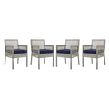 Modway Aura Dining Armchair Outdoor Patio Wicker Rattan Set of 4