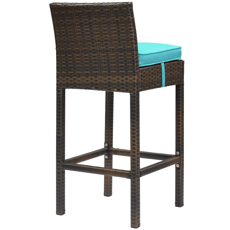 Modway Conduit Bar Stool Outdoor Patio Wicker Rattan Set of 4