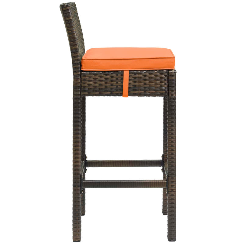 Modway Conduit Bar Stool Outdoor Patio Wicker Rattan Set of 2