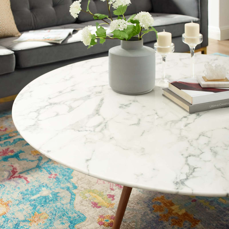 "Modway Lippa 47"" Round Artificial Marble Coffee Table with Tripod Base"