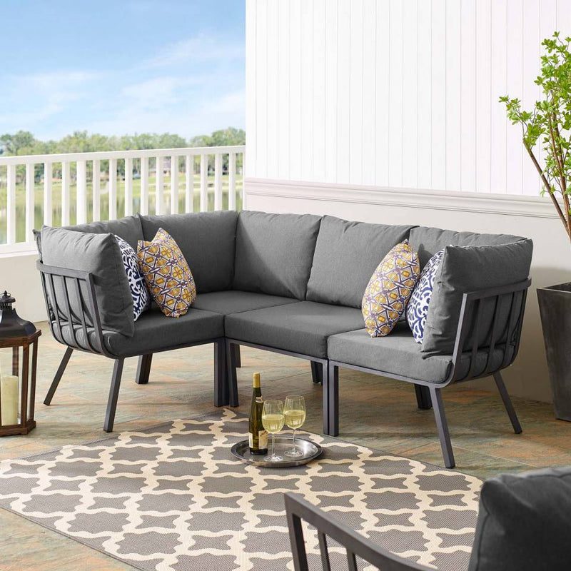Modway Riverside 4 Piece Outdoor Patio Aluminum Sectional