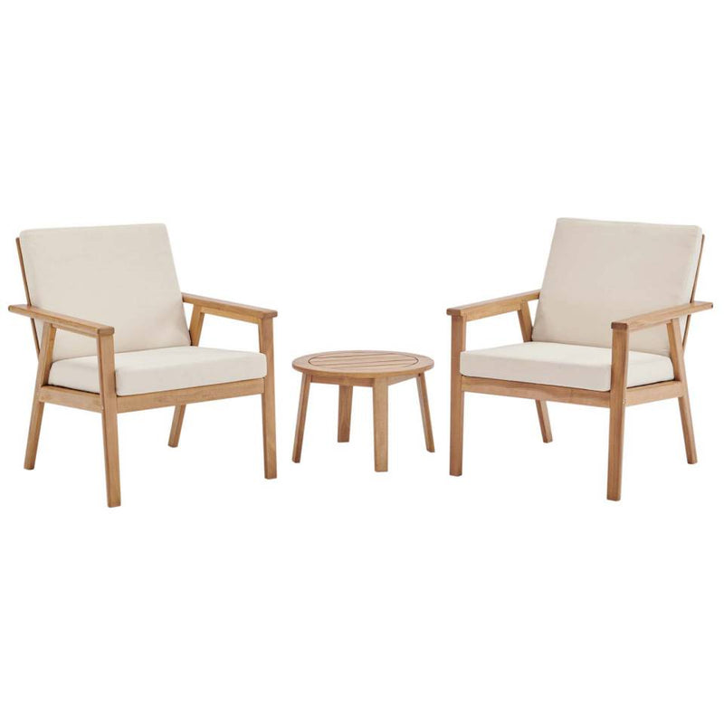 Modway Vero 3 Piece Outdoor Patio Ash Wood Set