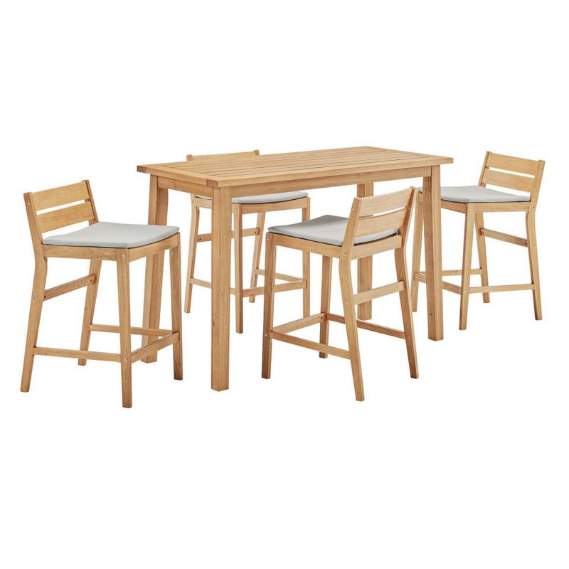 Modway Riverlake 5 Piece Outdoor Patio Ash Wood Bar Set