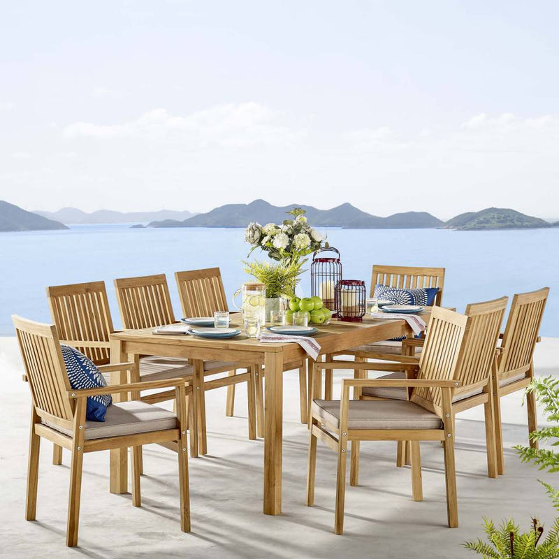 Modway Farmstay 9 Piece Outdoor Patio Teak Wood Dining Set