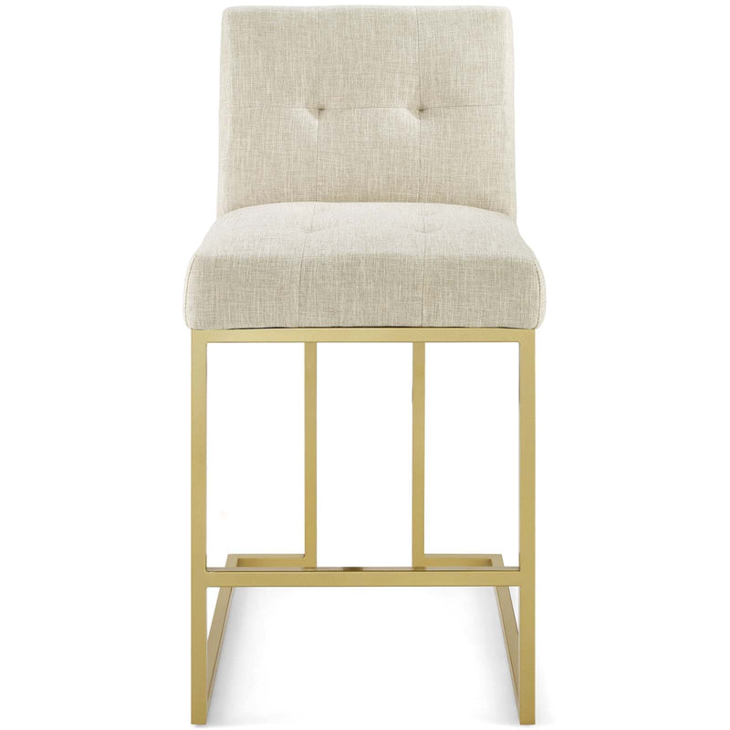 Modway Privy Gold Stainless Steel Upholstered Fabric Counter Stool