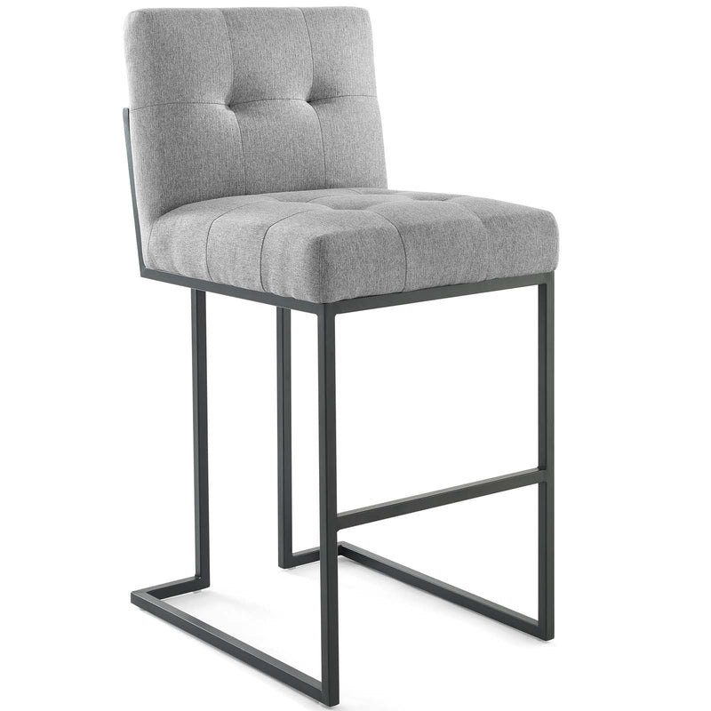 Modway Privy Black Stainless Steel Upholstered Fabric Bar Stool