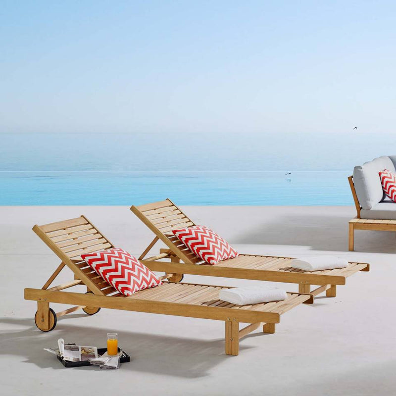 Modway Hatteras Outdoor Patio Eucalyptus Wood Chaise Lounge Set of 2