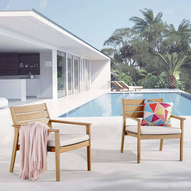 Modway Breton Outdoor Patio Ash Wood Armchair Set of 2