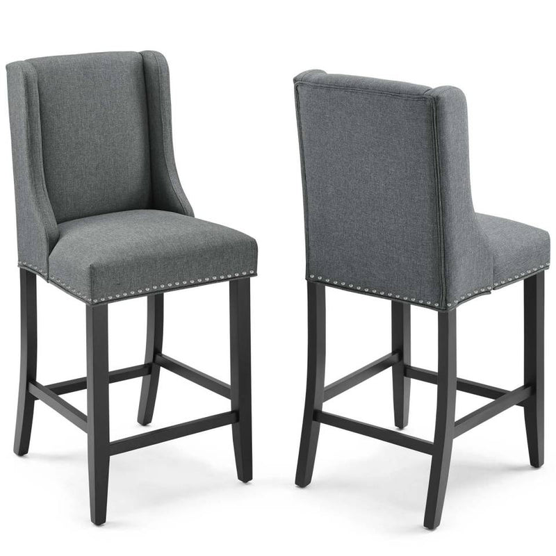 Modway Baron Counter Stool Upholstered Fabric Set of 2