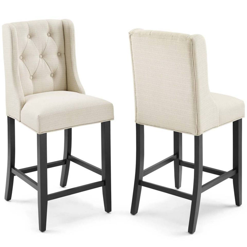 Modway Baronet Counter Bar Stool Upholstered Fabric Set of 2