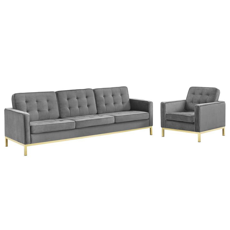 Modway Loft Gold Stainless Steel Leg Performance Velvet Sofa and Armchair Set