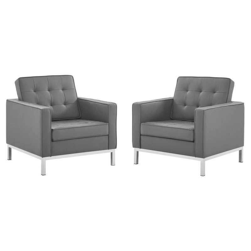 Modway Loft Tufted Upholstered Faux Leather Armchair Set of 2