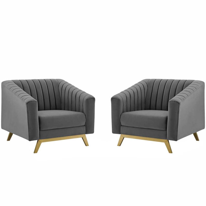 Modway Valiant Vertical Channel Tufted Upholstered Performance Velvet Armchair Set of 2