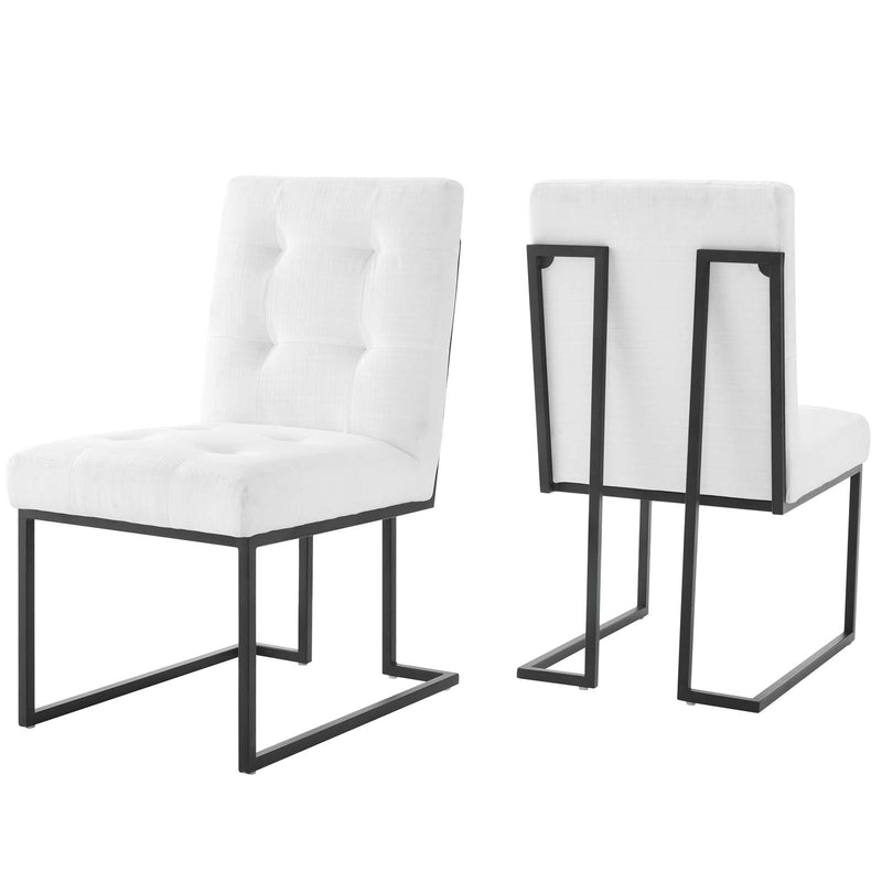Modway Privy Black Stainless Steel Upholstered Fabric Dining Chair Set of 2