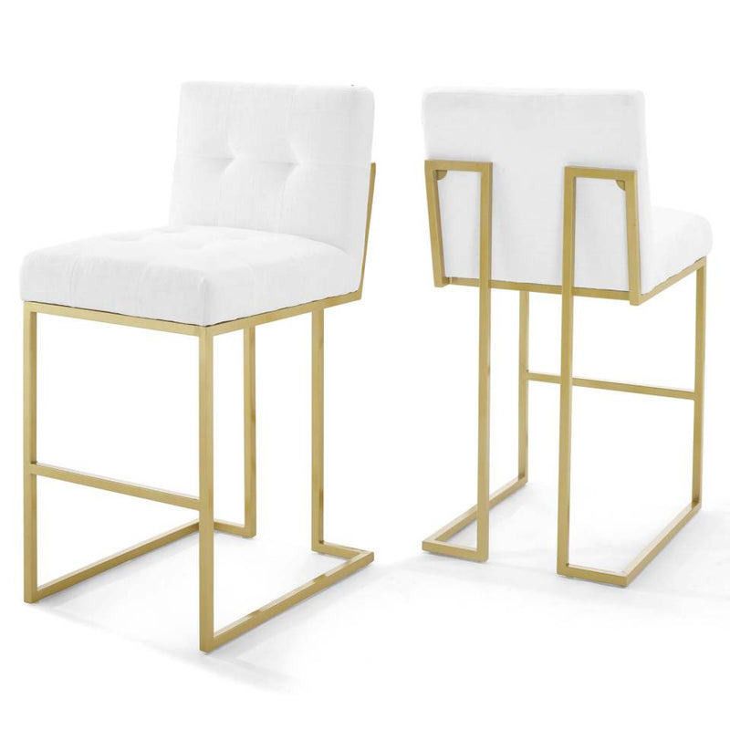 Modway Privy Gold Stainless Steel Performance Velvet Bar Stool Set of 2