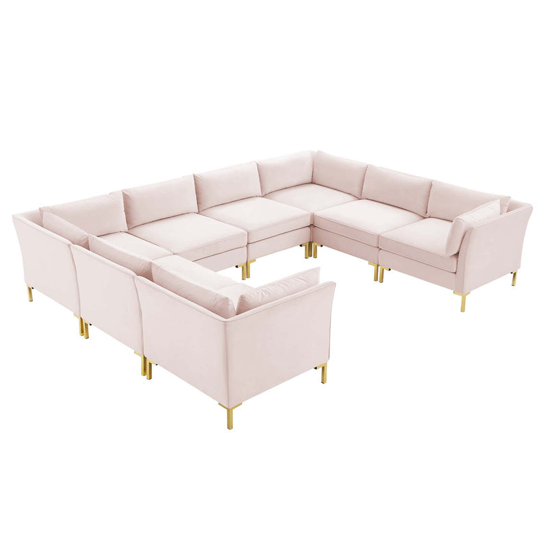 Modway Ardent 8-Piece Performance Velvet Sectional Sofa