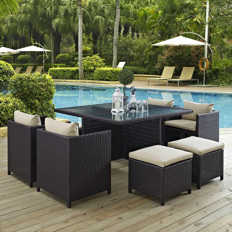 Modway Inverse 9 Piece Outdoor Patio Dining Set - Espresso Beige