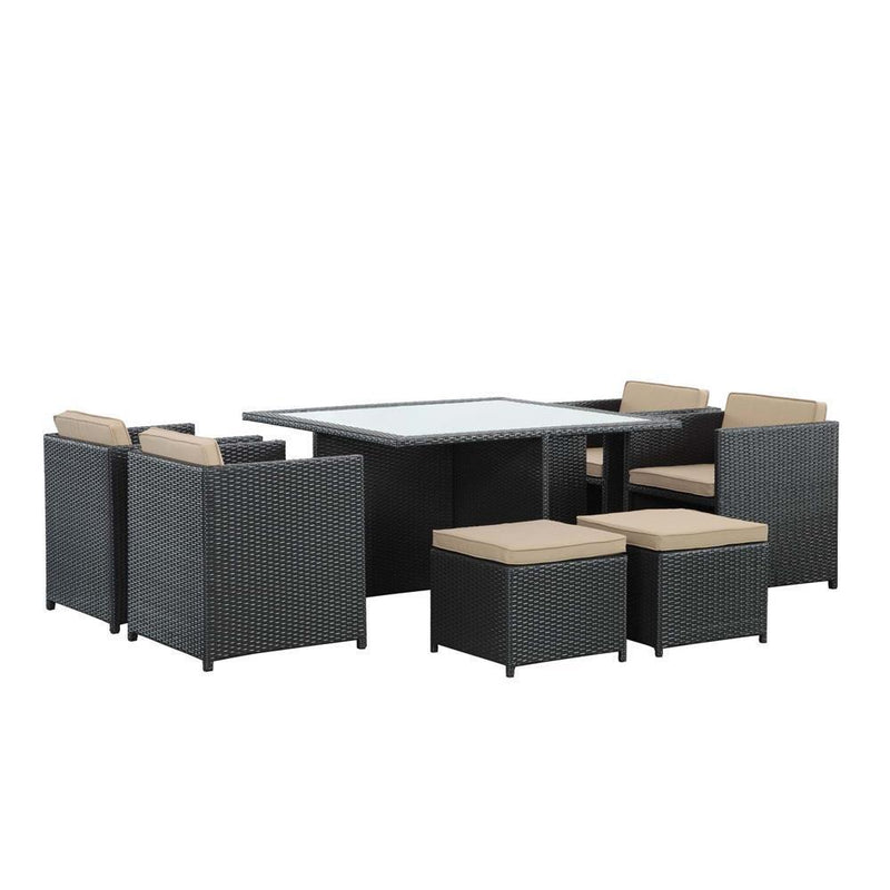 Modway Inverse 9 Piece Outdoor Patio Dining Set - Espresso Mocha