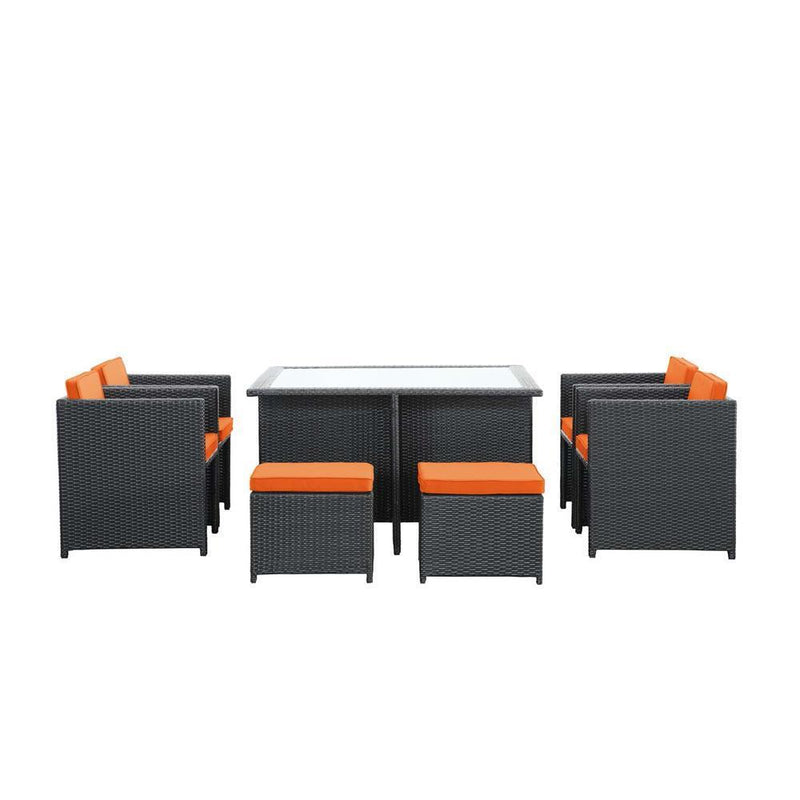 Modway Inverse 9 Piece Outdoor Patio Dining Set - Espresso Orange