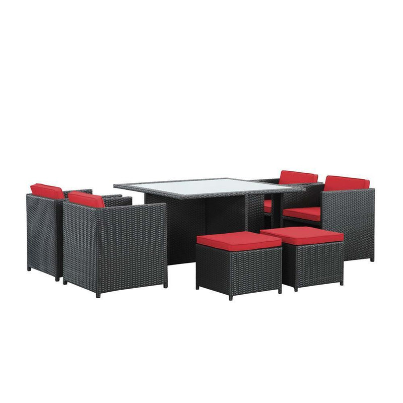 Modway Inverse 9 Piece Outdoor Patio Dining Set - Espresso Red