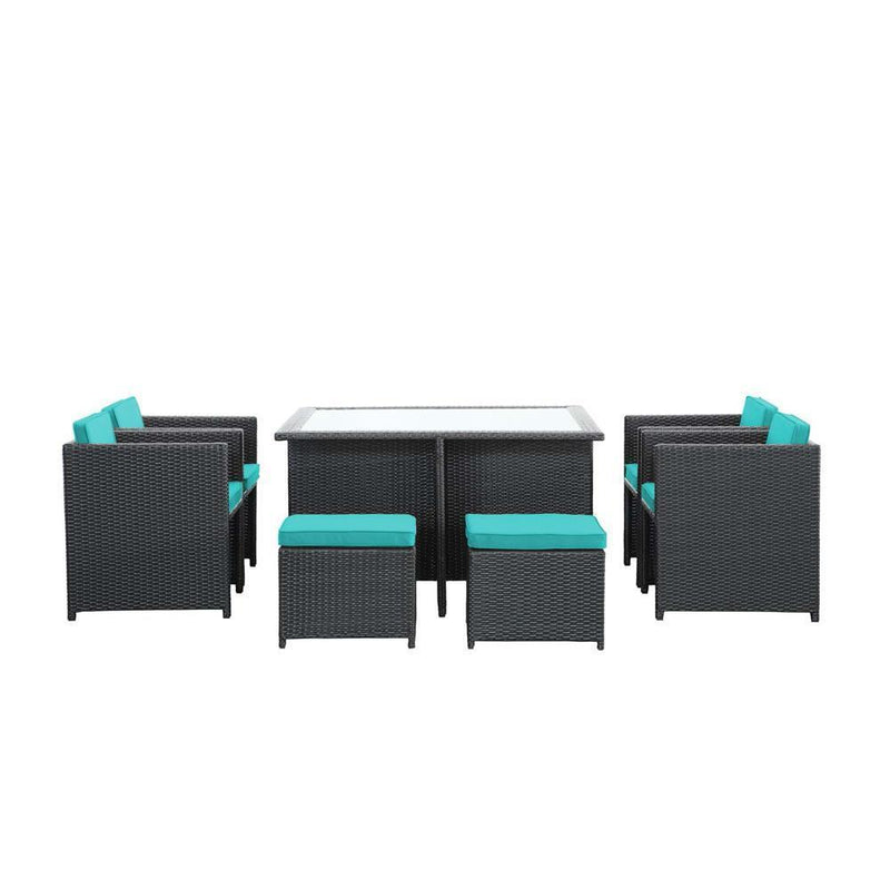 Modway Inverse 9 Piece Outdoor Patio Dining Set - Espresso Turquoise