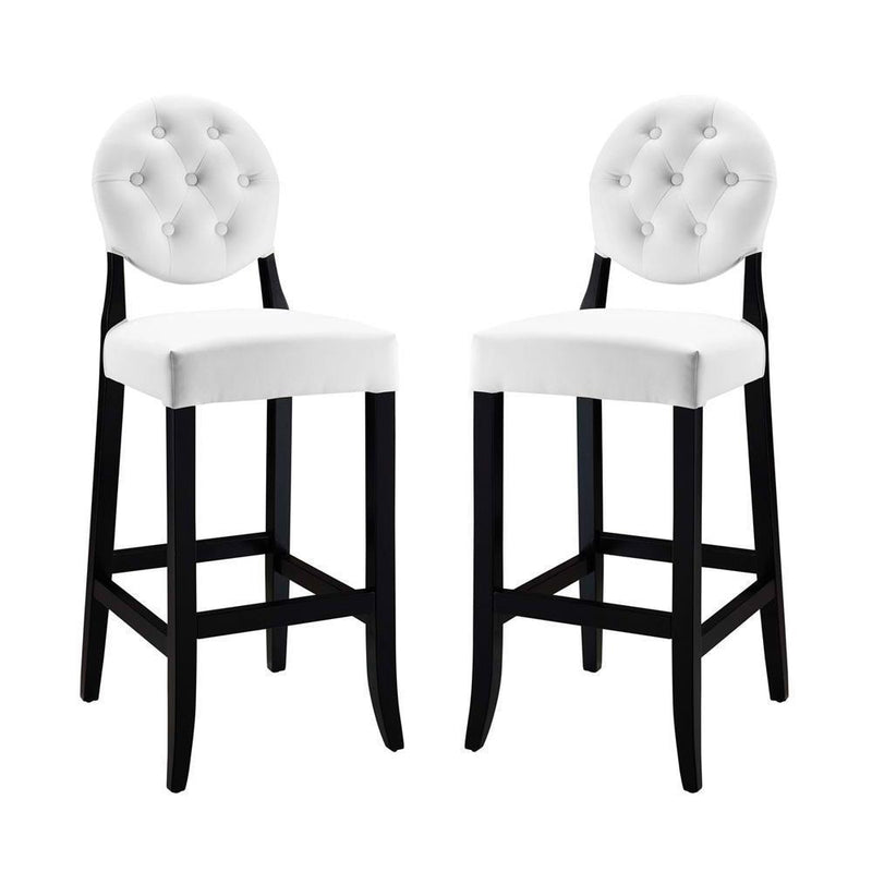 Modway Button Bar Stool Set of 2 - White