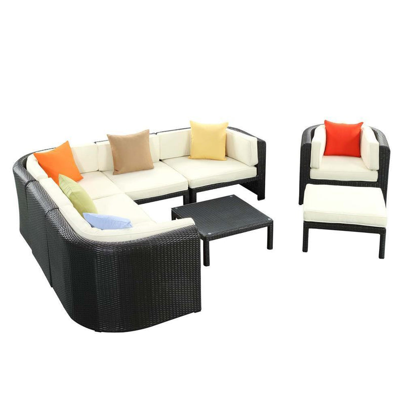 Modway Bonaire 9 Piece Outdoor Patio Sectional Set - Espresso Multicolor