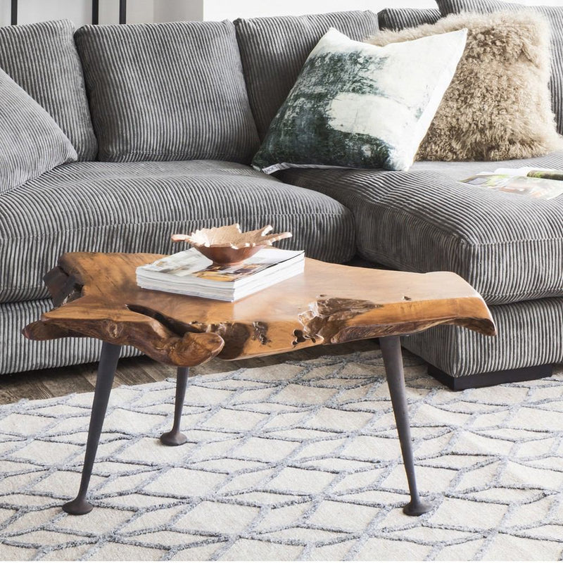 Moe's Home Collection Teak Coffee Table With Cast Iron Legs