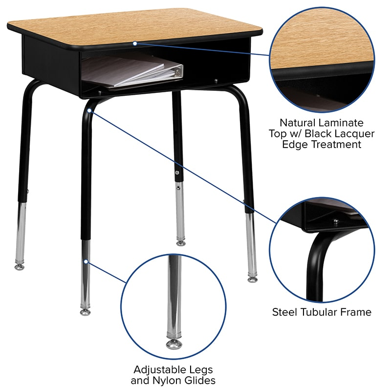 Student Desk with Open Front Metal Book Box by Flash Furniture