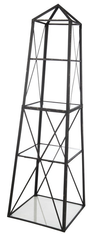 A&B Home Square Metal/Glass Etagere