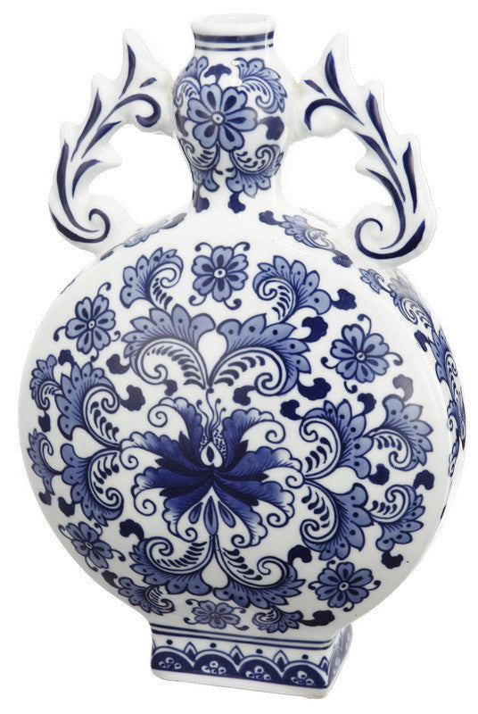 A&B Home Blue & White Vase With Handle - Set Of 2