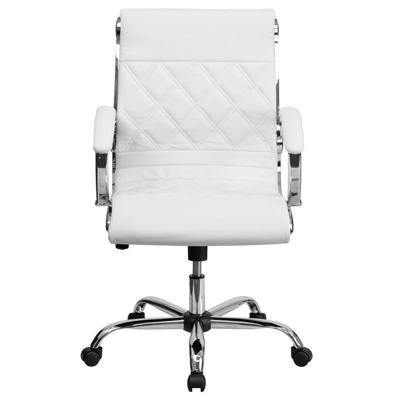Flash Furniture Mid-Back Designer White Leather Executive Swivel Office Chair With Chrome Base
