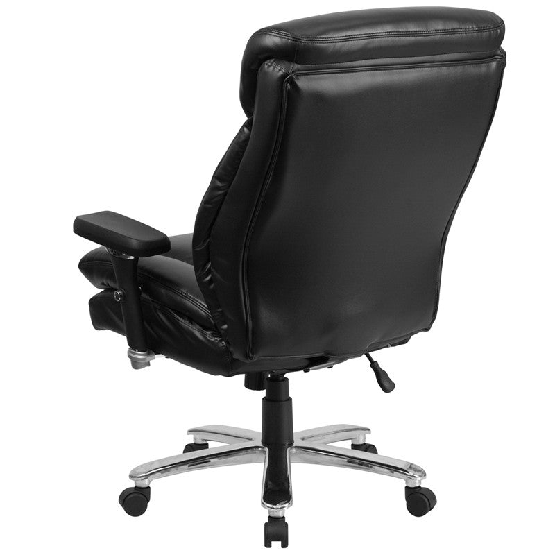 Flash Furniture Hercules Series 24/7 Intensive Use, Multi-Shift, Black Leather Executive Swivel Chair With Lumbar Support Knob
