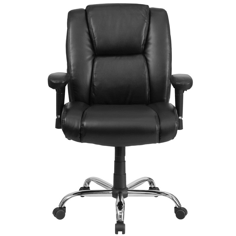 Flash Furniture Hercules Series 400 Lb. Capacity Big & Tall Black Leather Swivel Task Chair With Height Adjustable Arms