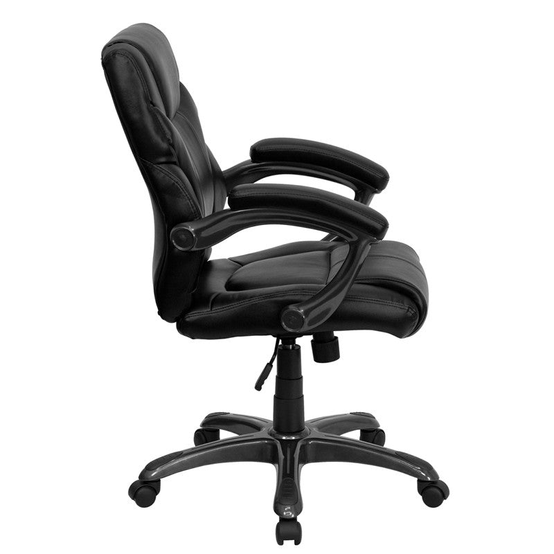 Flash Furniture Mid-Back Black Leather Overstuffed Swivel Task Chair