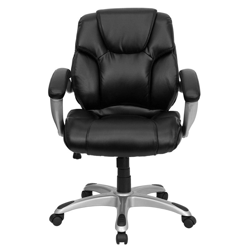 Flash Furniture Mid-Back Black Leather Swivel Task Chair