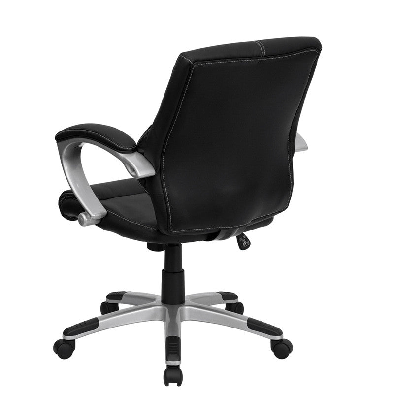 Flash Furniture Mid-Back Black Leather Contemporary Swivel Manager'S Chair