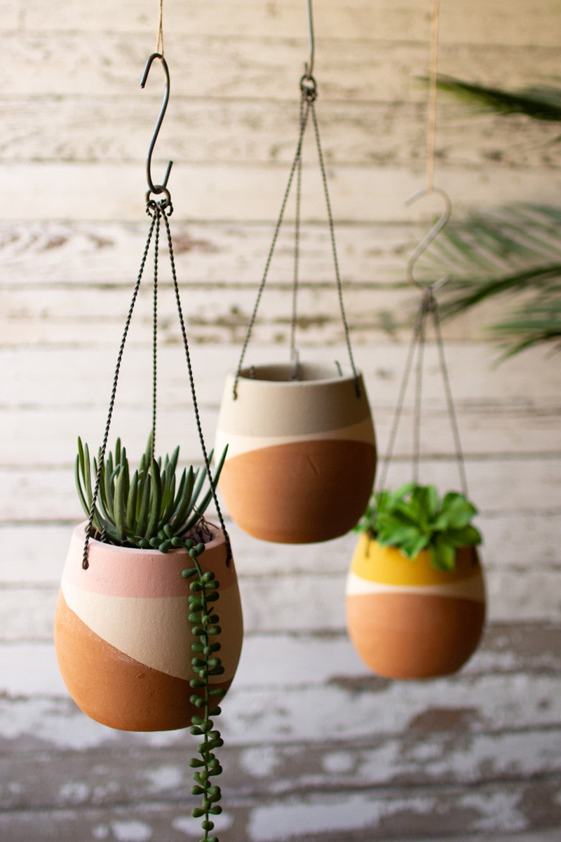Color Dipped Hanging Clay Pots by Kalalou
