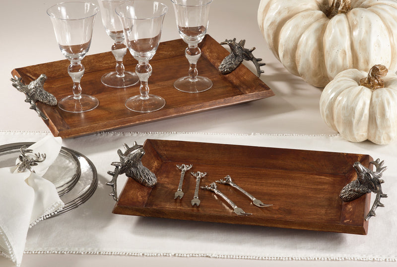 Saro Wooden Tray With Reindeer Handle